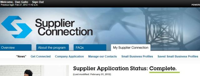 "Access ""Small Business Profiles"" from your ""My Supplier-Connection"" page"